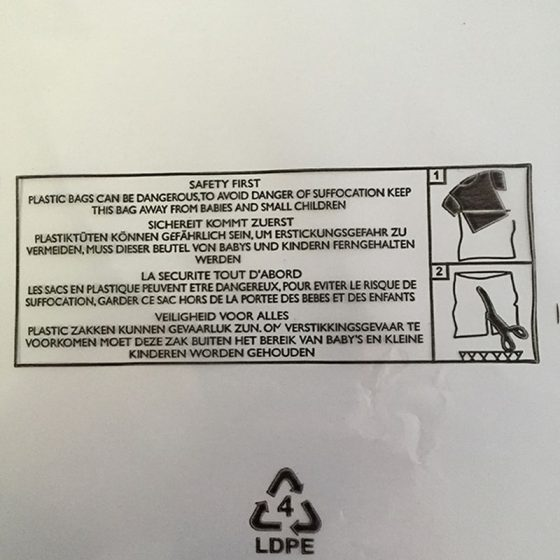 Printed Child Warning Poly Bags