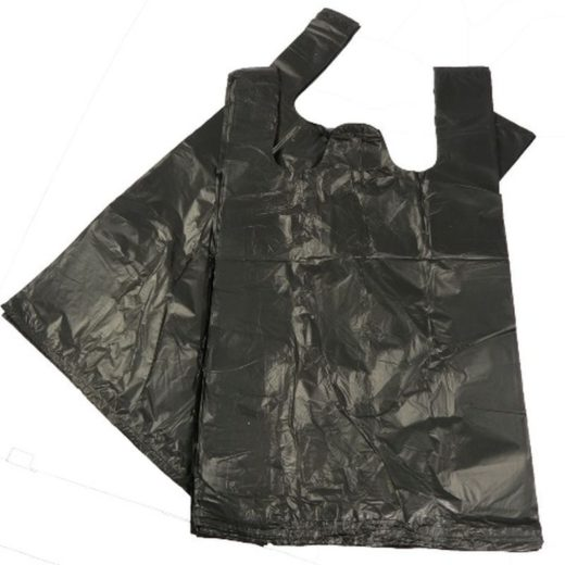 Black Plastic Vest Carrier Bags